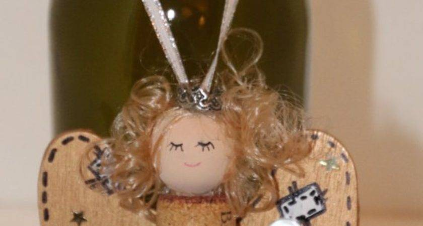 Angel Ornament Recycle Wine Cork Bottle Necklace Christmas