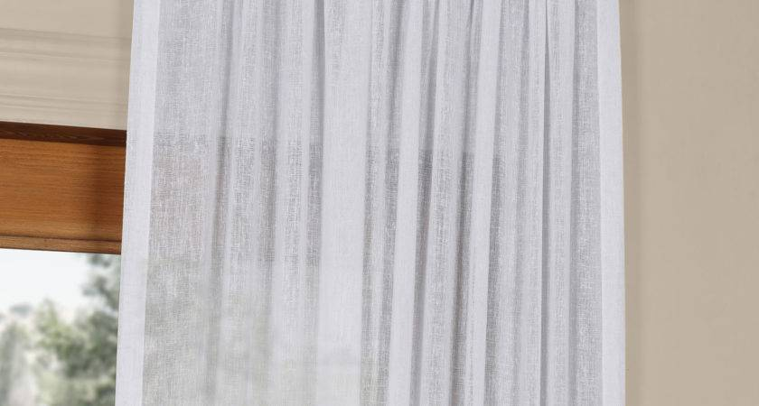 Aspen White Solid Faux Linen Inch Sheer Curtain