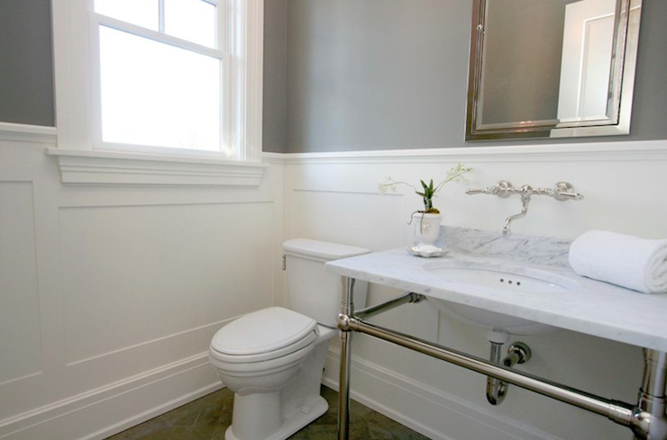 Bathroom Gray Paint Color Paired Wainscoting