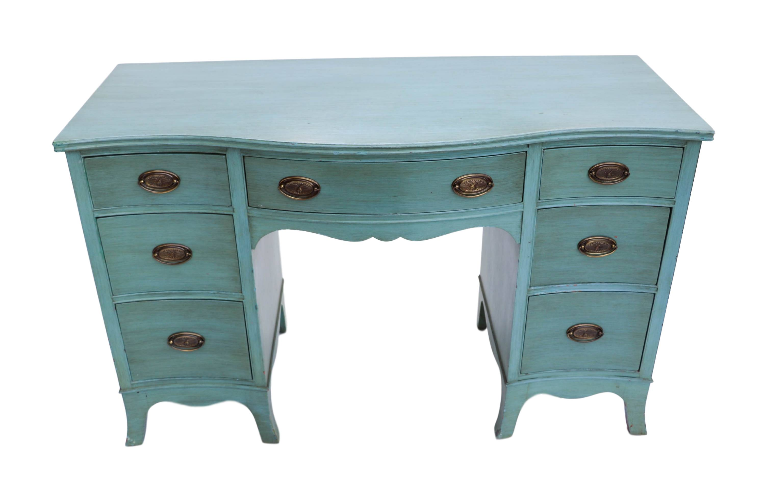 Beautiful Vintage Turquoise Painted Desk Vanity Danish Mid Century