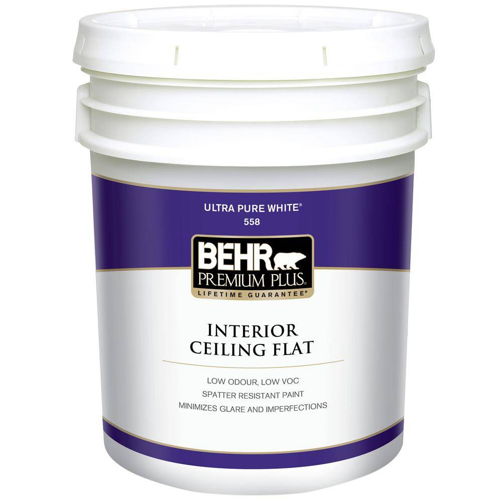 Behr Premium Plus Gal White Flat Ceiling Interior Paint