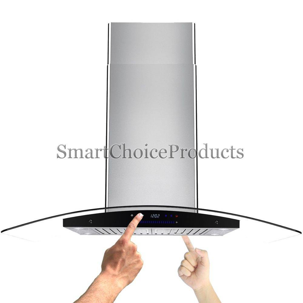 Best Curve Kitchen Glass Island Stainless Steel Ventless Range