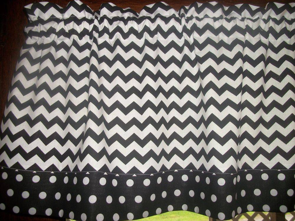 Black White Chevron Polka Dot Trim Fabric Curtain Topper