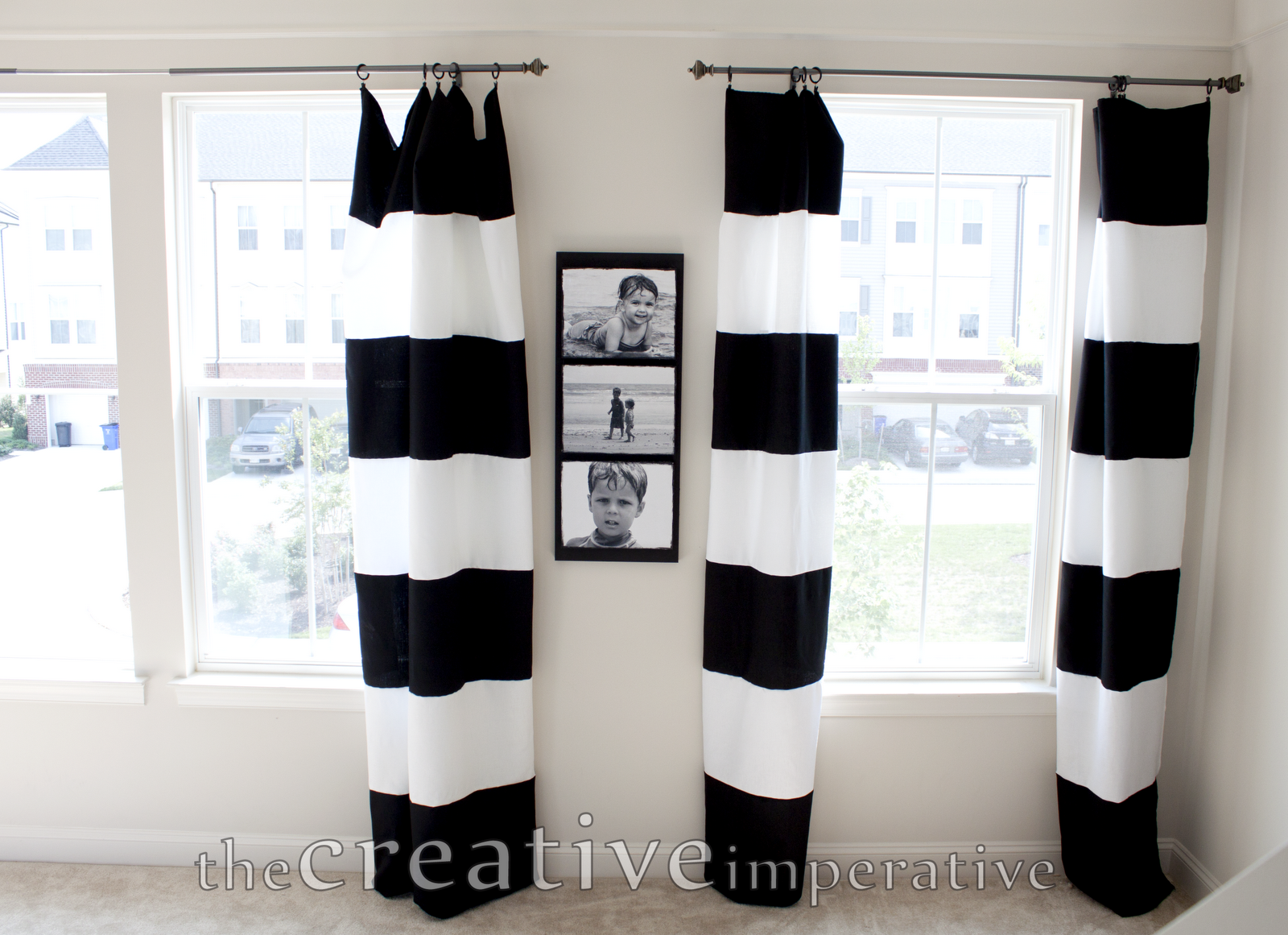 Black White Horizontal Striped Curtains Made Tablecloths