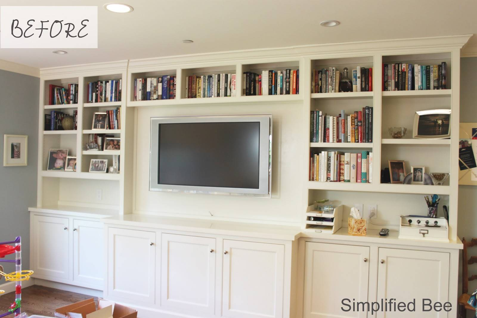 Bookshelf Styling Before After