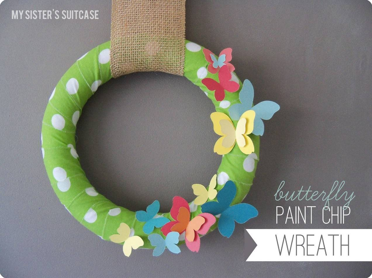 Butterfly Paint Chip Wreath Tutorial Guest Post Craftionary