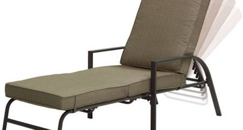 Chaise Lounge Chair Tan Polyester Fabric Cushion