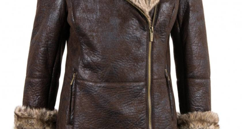 Chamonix Faux Toscana Sheepskin Mid Length Coat Dark