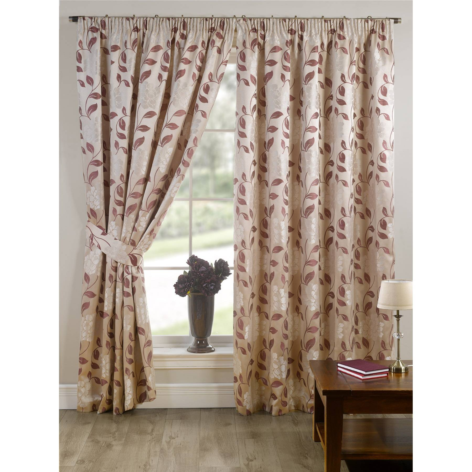 Davina Fully Lined Ready Made Floral Patterned Curtains