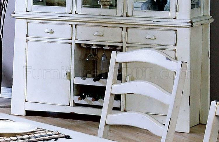 Distressed Wash White Finish Country Style Dining Set Crds
