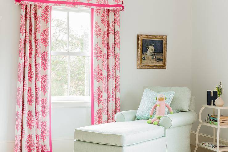 Dressed White Pink Coral Valance Curtains
