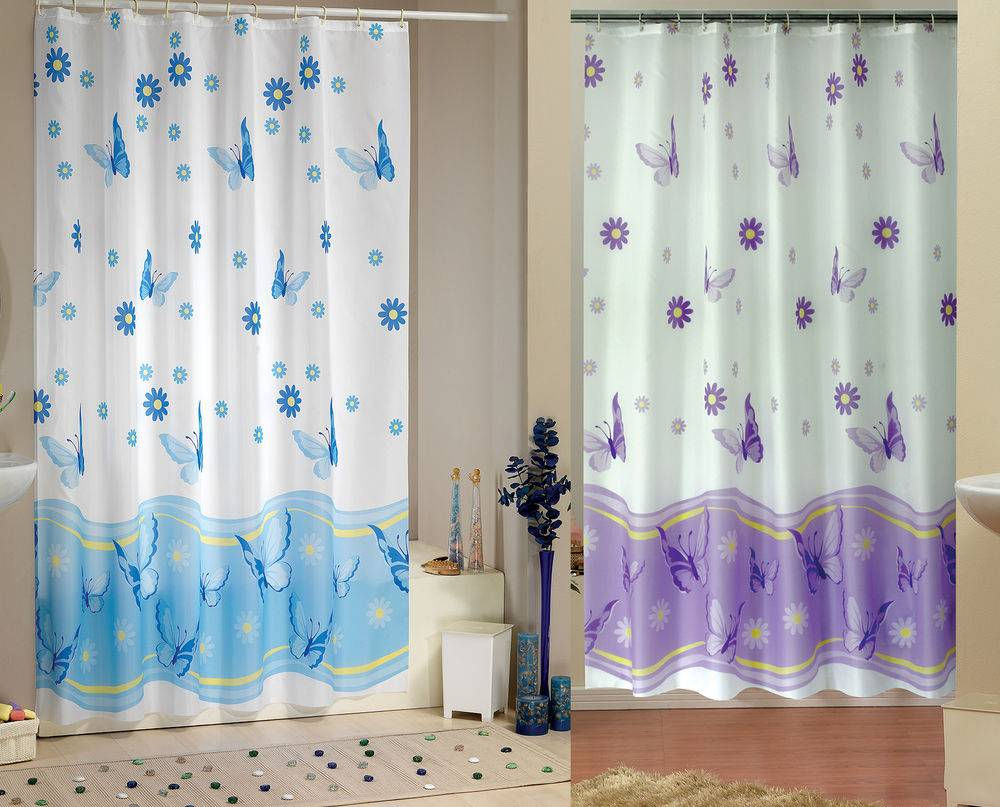 Elegant Extra Long Wide Fabric Shower Curtain Two