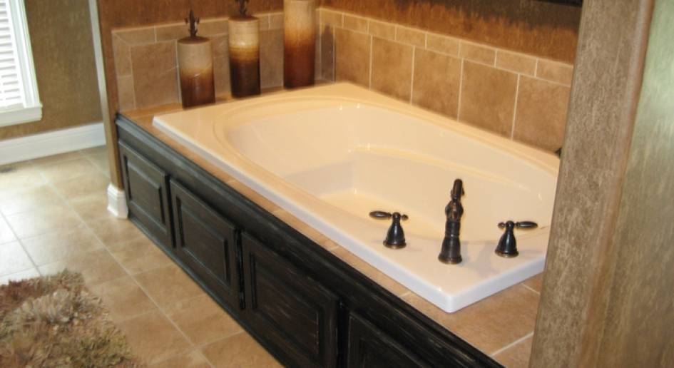 Featured Really Nice Bathroom Custom Tile Around Bathtub