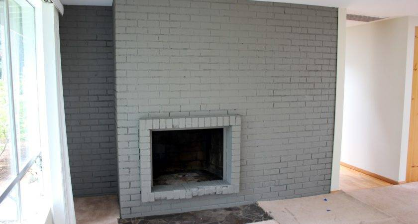 Gray Painted Brick Fireplace Here All