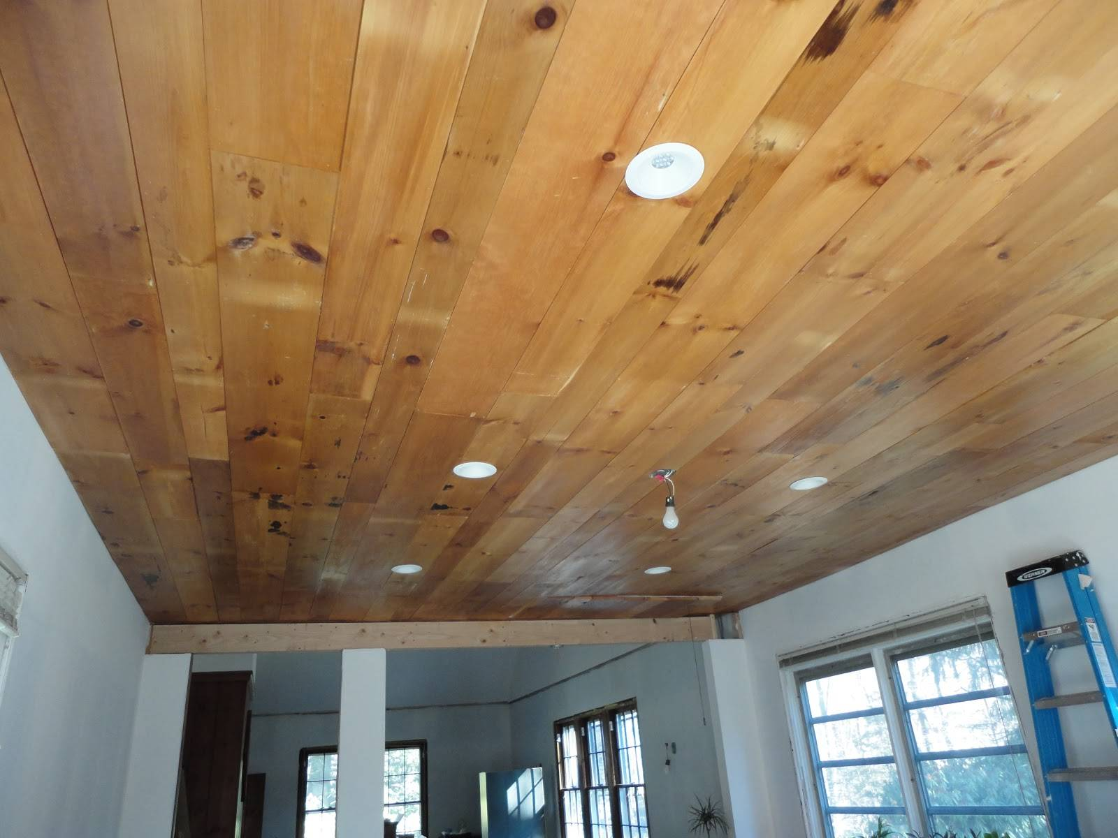 Green Halo Remodel Project Wood Plank Ceiling