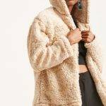 Hooded Faux Shearling Jacket Forever
