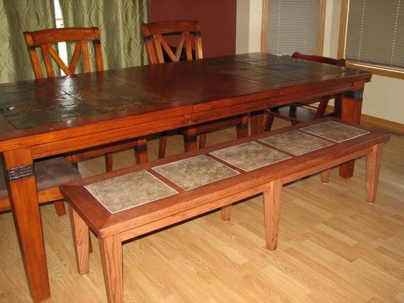 Items Similar Dining Table Bench Tile Inlay Etsy