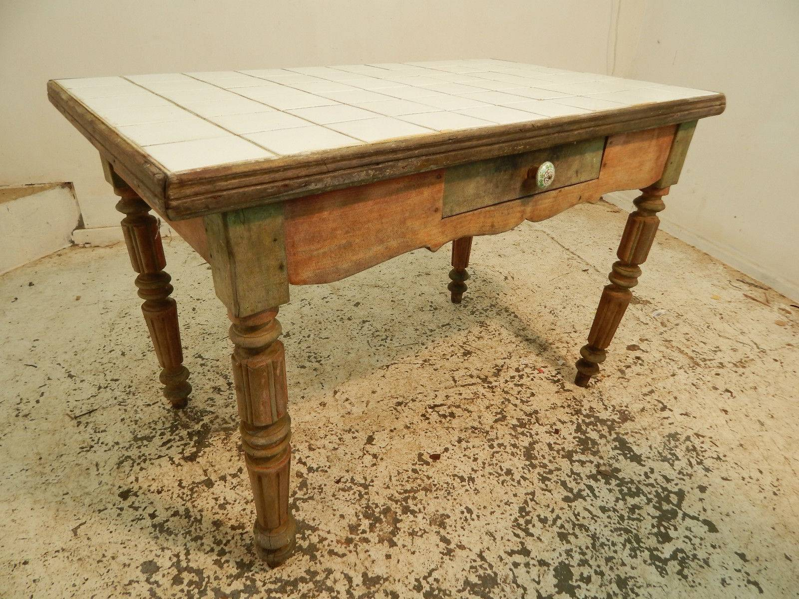 Kitchen Table Turned Legs Drawer Painted Small Vintage Pine Tile