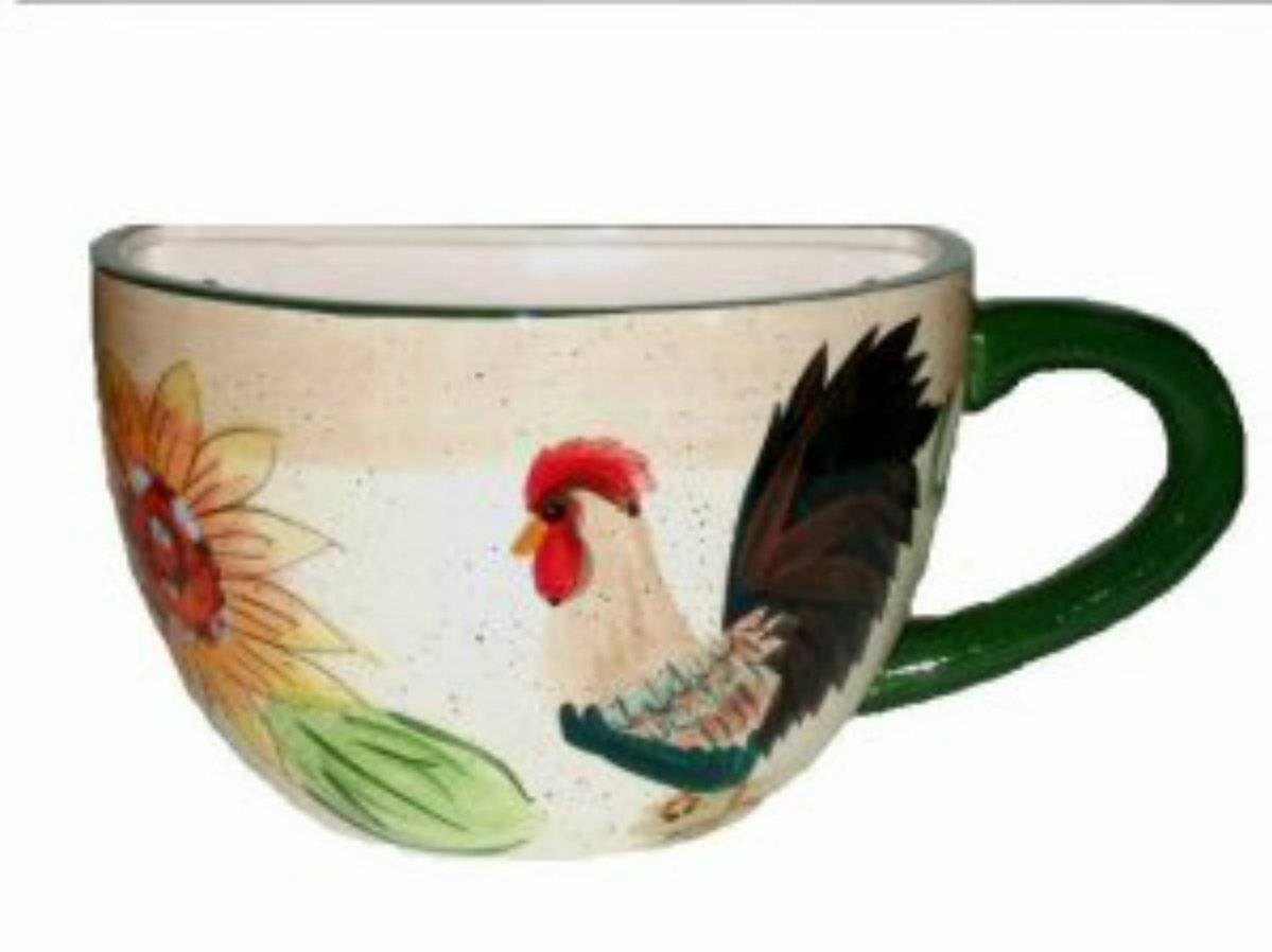 Large Coffee Cup Planter Rooster Sunflower Wall Decor