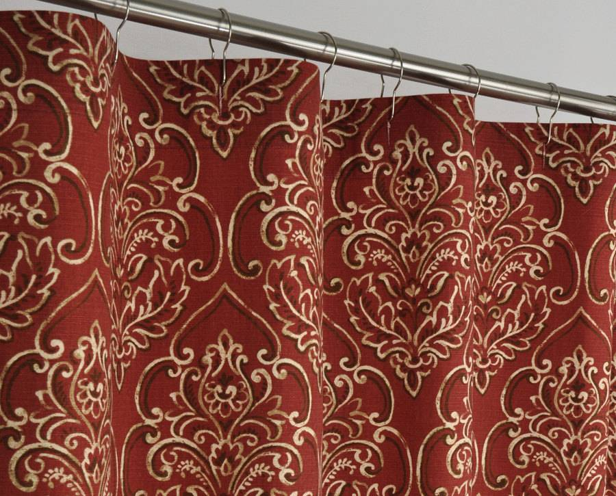 Long Brick Red Damask Shower Curtain Pondlilly