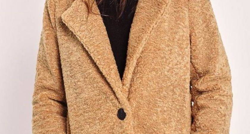 Longline Faux Shearling Coat Camel Missguided