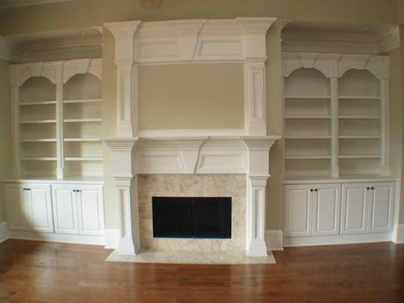 Mantle Fireplace Bookcase Double