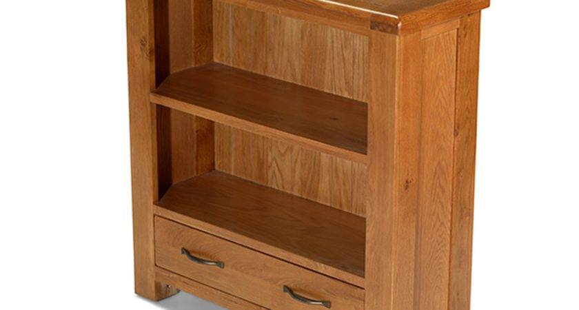Melrose Solid Oak Furniture Small Low Bookcase Drawer