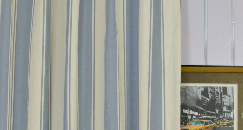 Moonbay Stripe Back Tab Cotton Extra Long Curtains