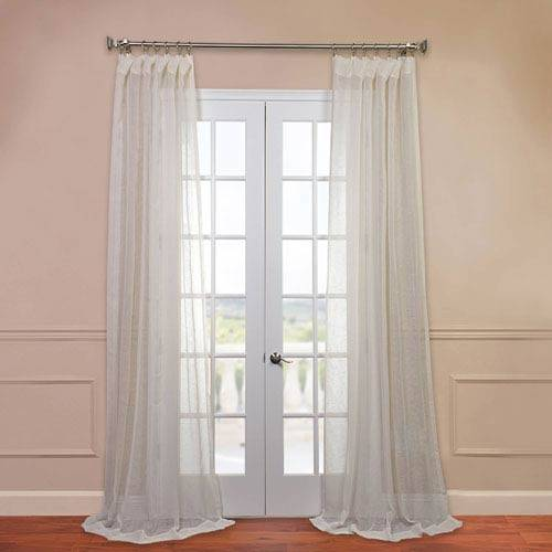 Open Weave Cream Inch Linen Sheer Curtain Half