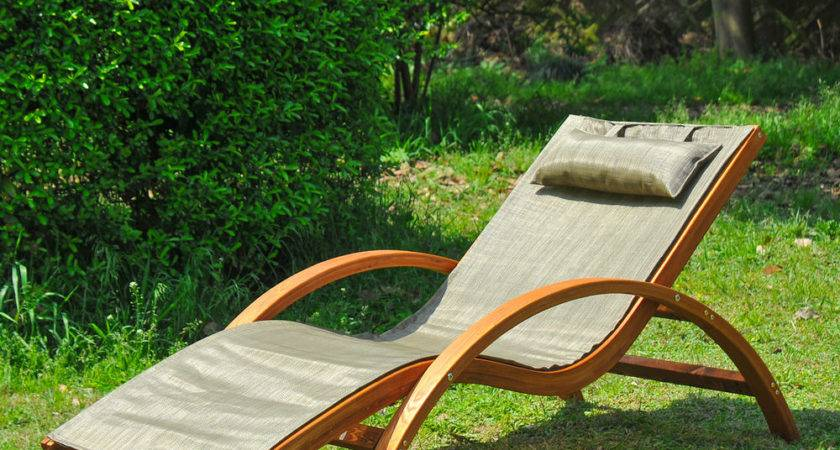 Outsunny Lounge Chair Wood Chaise Beach Yard Patio Camping