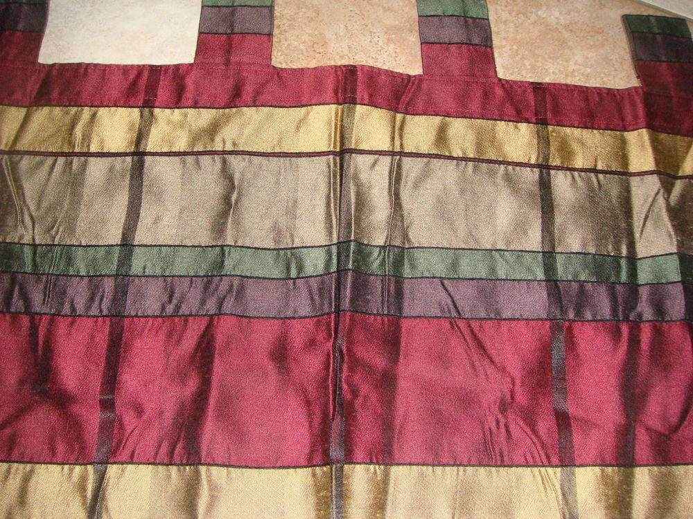 Penny Home Drapes Curtains Window Burgundy Gold Green New
