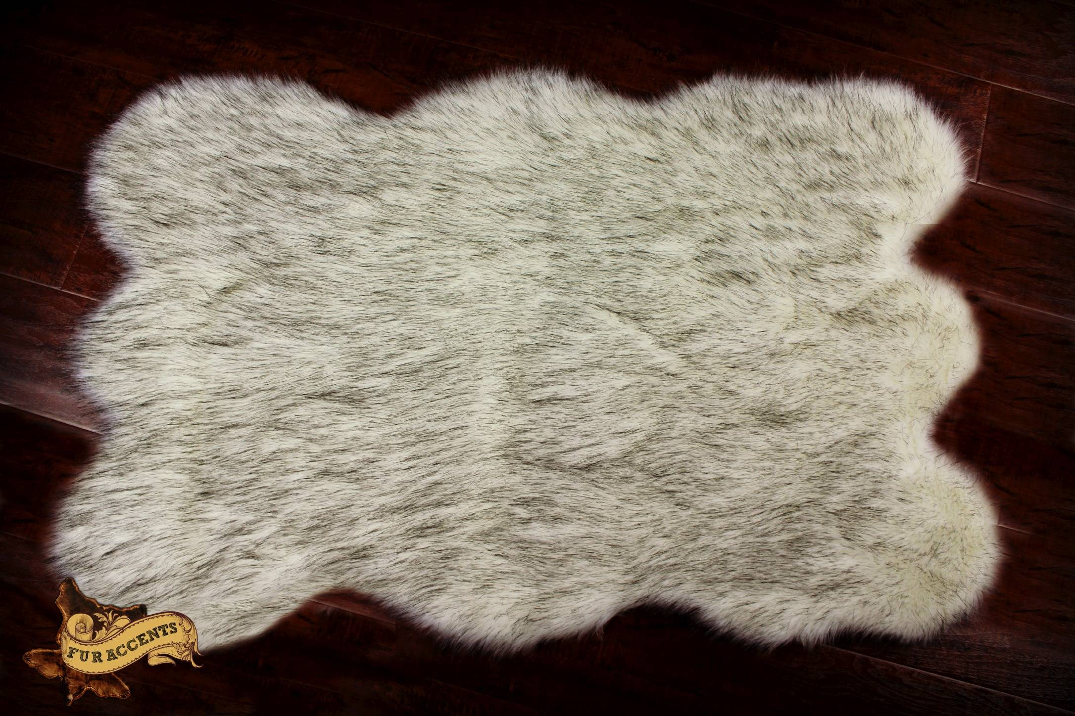 Plush Faux Fur Russian Bearskin Accent Rug Warm Off White Black