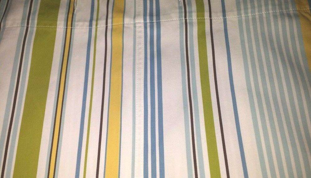 Pottery Barn Shower Curtain White Blue Brown Yellow Turquoise