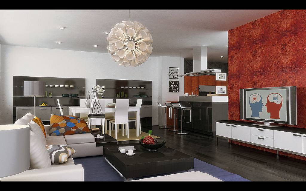 Predominant Accent Color Walls Living Dining Space