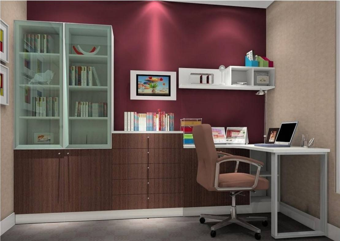 Rendering Design Wall Bookcase Desk House