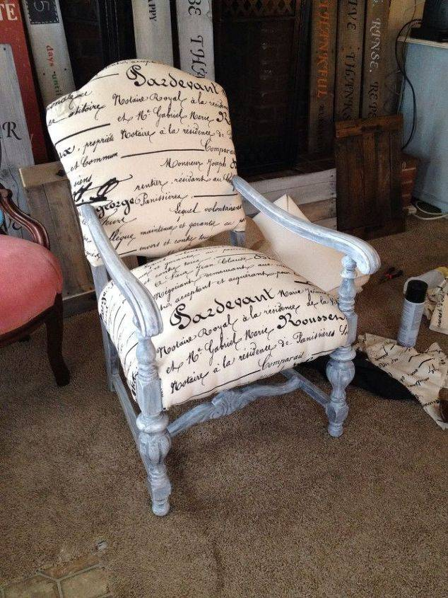 Repainted Reupholstered Wood Chairs Hometalk