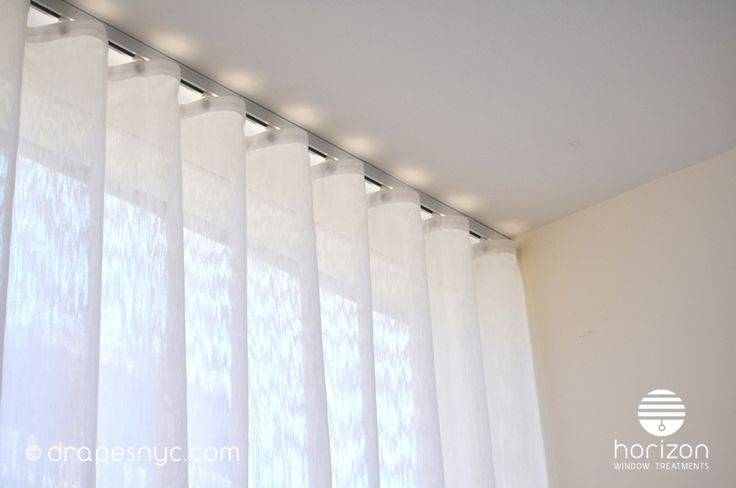 Ripple Fold Curtain White Track Ceiling Mounted