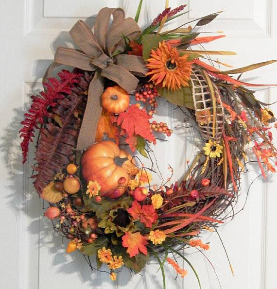 Round Grapevine Wreath Fall Autumn Thanksgiving Large