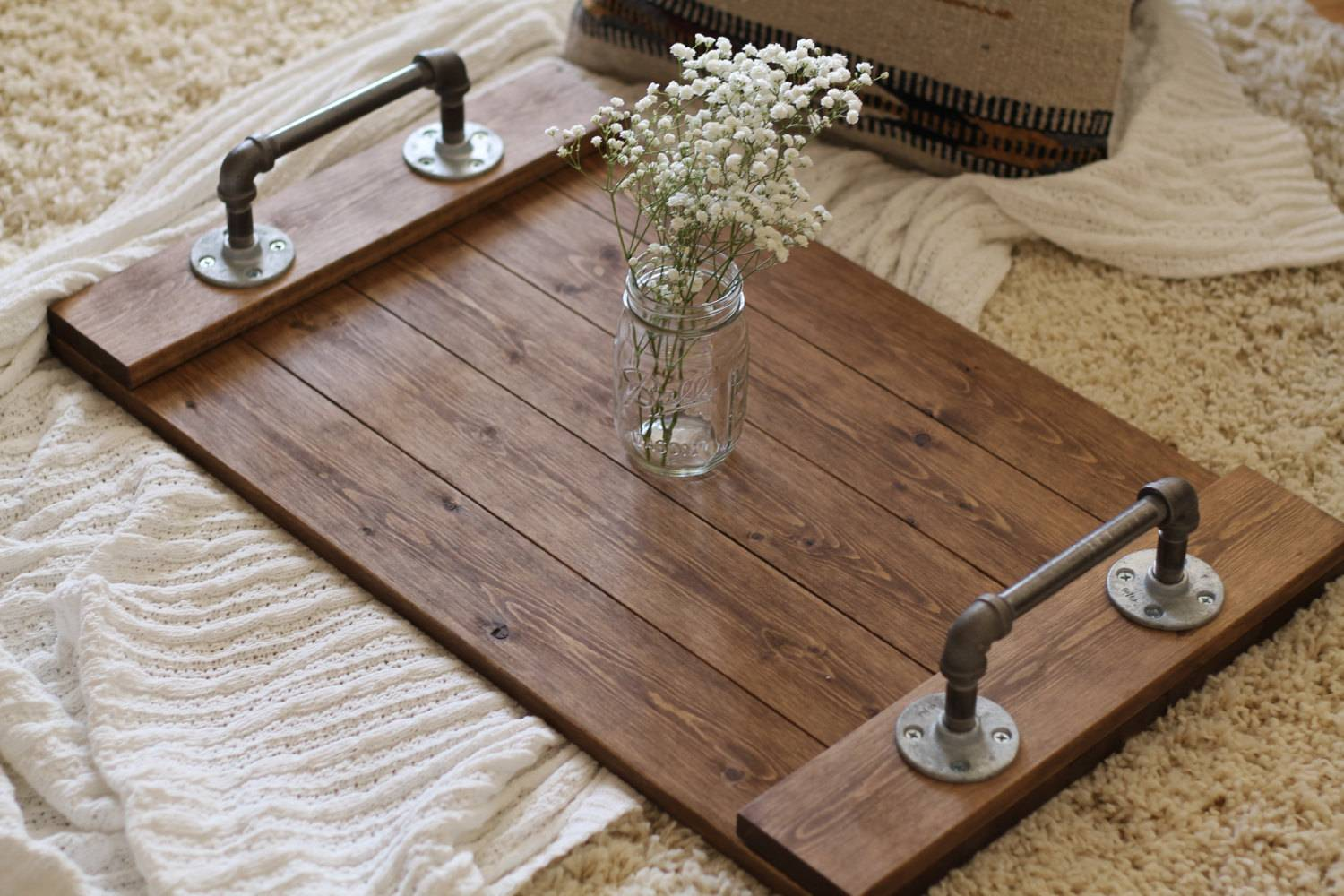 Rustic Industrial Tray Wooden Ottoman Dunnrusticdesigns