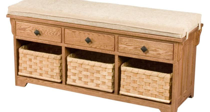 Storage Bench Seat Wooden Entryway Benches Baskets New