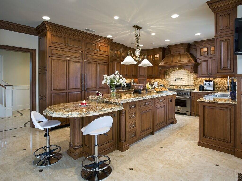 Traditional Wood Island Matching Cabinetry Throughout Kitchen