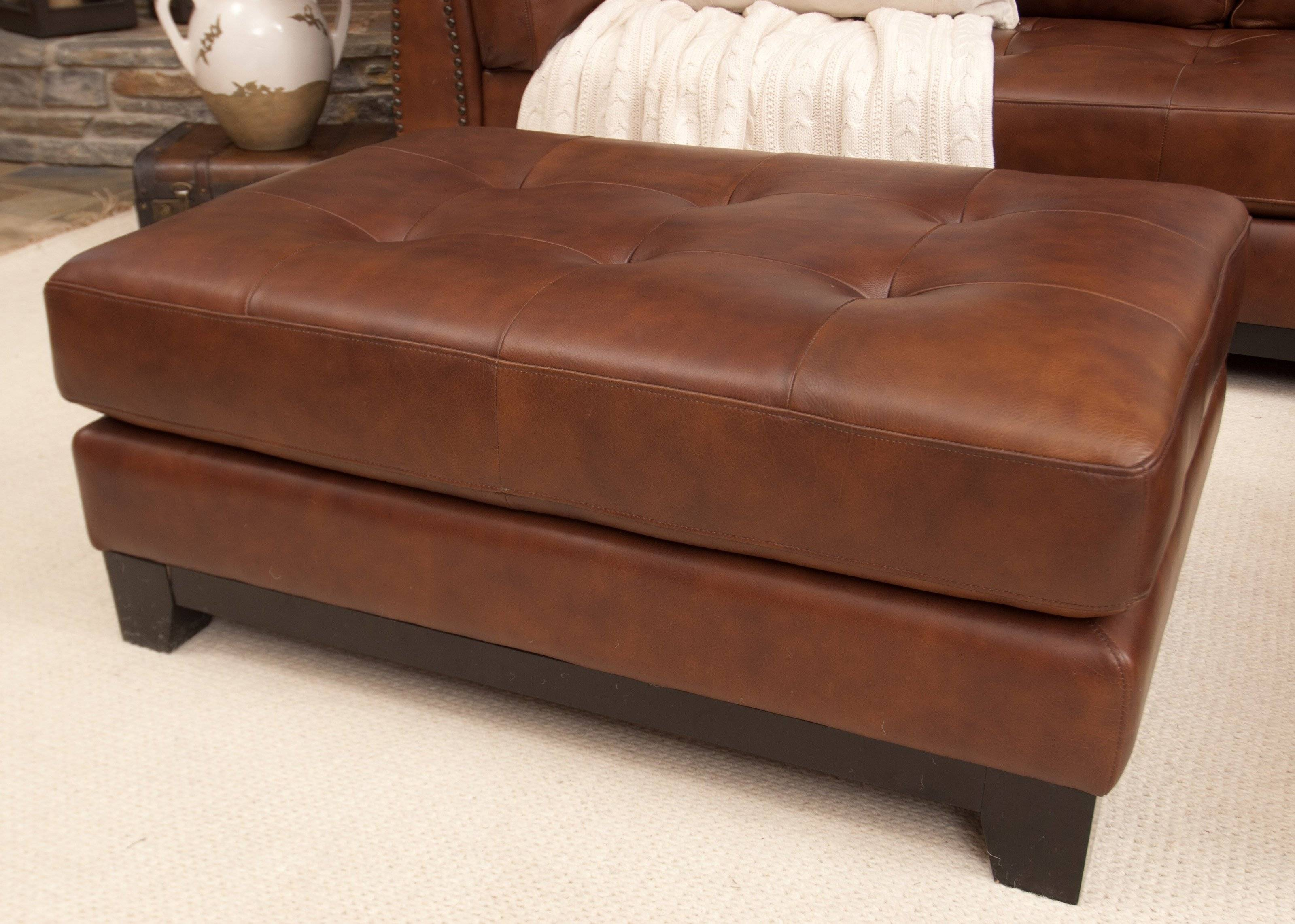 Tufted Ottoman Coffee Table Supple Leather