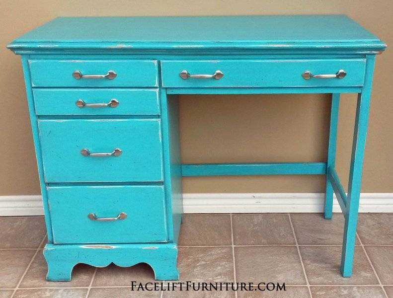 Turquoise Desk Silver Pulls