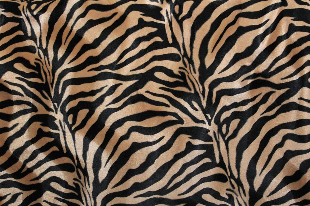 Velboa Faux Fur Coffee Black Zebra Animal Print Fabric Sewing Poly