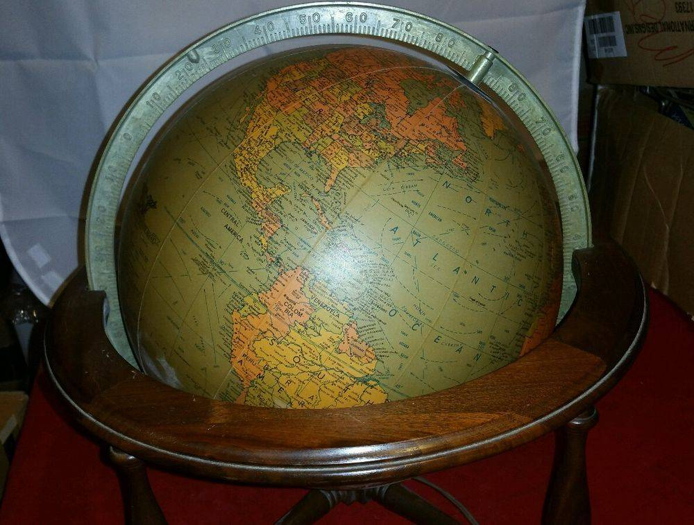 Vintage Electric Lighted World Globe Replogle Table Top Wood Stand