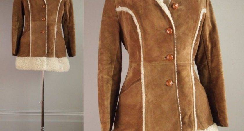 Vtg Pioneer Wear Leather Faux Fur Shearling Coat