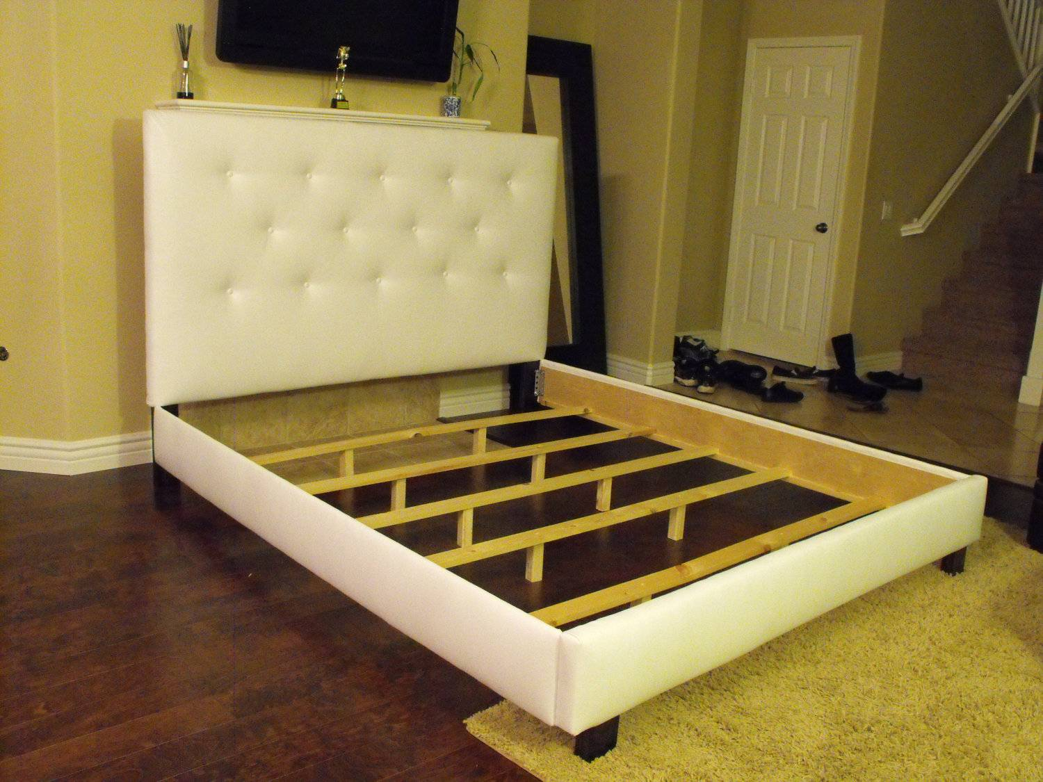 White Queen Bed Frame Button Tufted Lilykayy