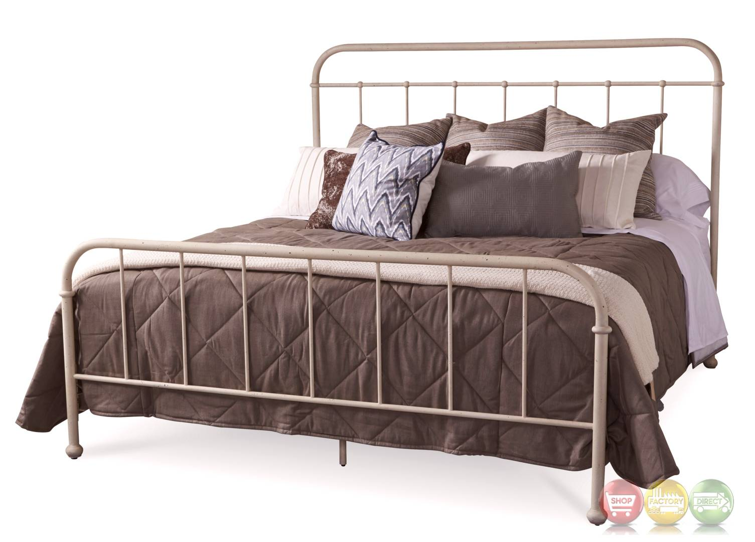 Williamsburg Queen Metal Frame Bed White Distressed Finish