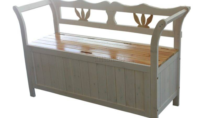 Wooden Seat Bench Chair Cabinet Storage White Home