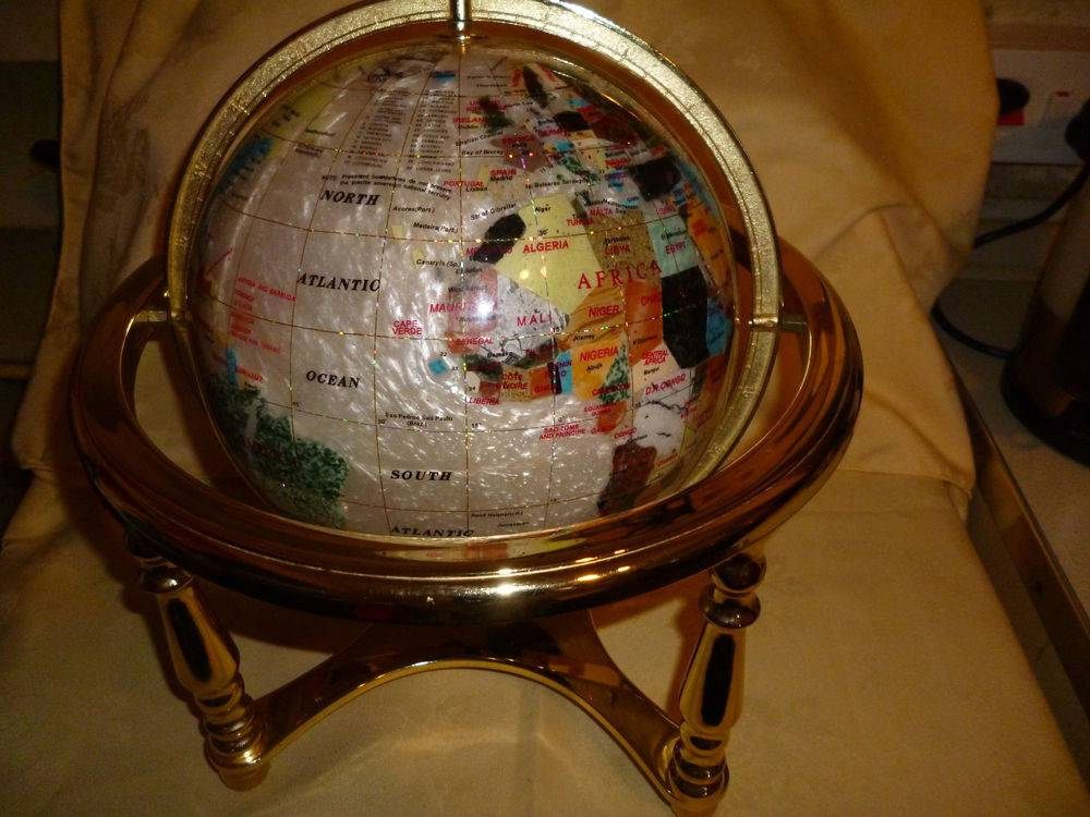 World Globe Precious Stone Mother Pearl Brass Stand High